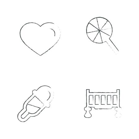 black baby boy: Drawing Time Clock Icons Set Draw