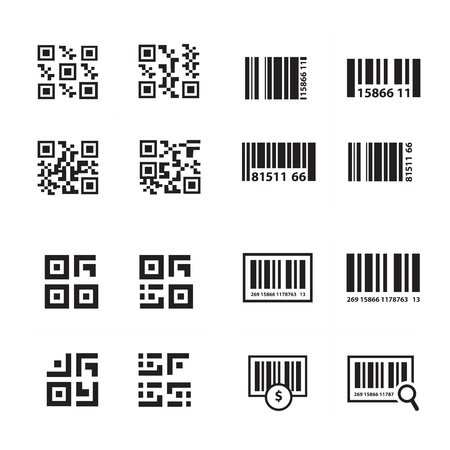 medical scanner: Barcode and QR Code Vector set