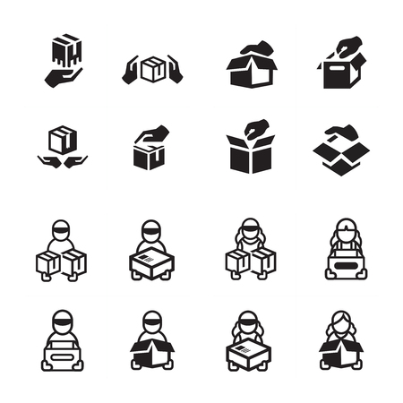 courier: hand and courier icon set Illustration