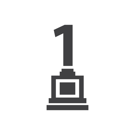 merit: Number one trophy Awards vector icons