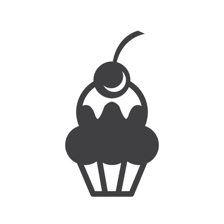 cup cake monochrome bakery icon design