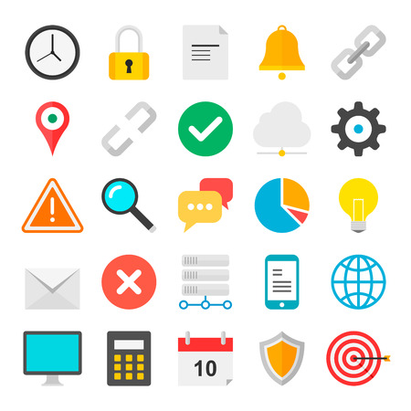 Web Flat icons collection with of web and UI design objects, business, office and marketing element  Isolated on white background  Vector