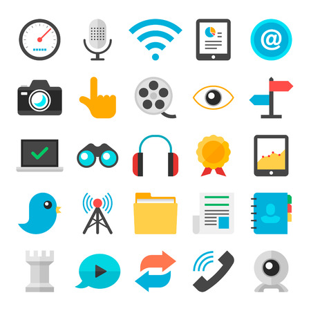design objects: Shopping Flat icons collection with of e-commerce and retail design objects, business, marketing element  Isolated on white background  Illustration