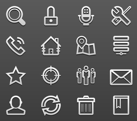 Black Line Web Icon Set  Vector