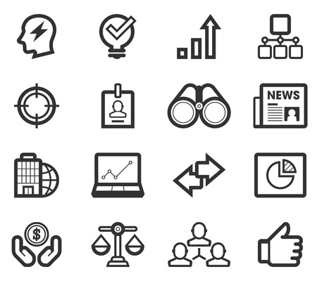 Black Line Bussiness Strategy Icon Set  Vector