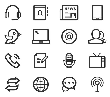 Black Line Communication   Media Icon Set Ilustração