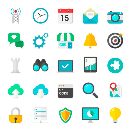Flat internet icons vector collection with of web and UI design objects, business, office and marketing element  Isolated on white background  Vector