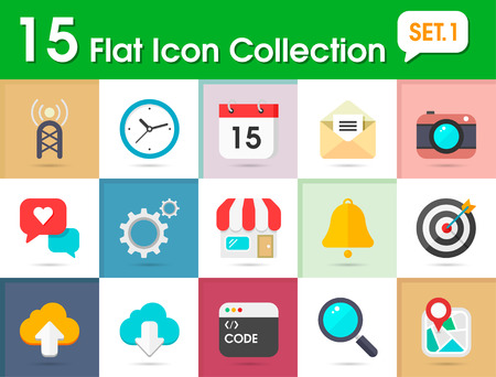 Flat internet icons vector collection with of web and business, office and marketing element  Isolated on multi-color background  Vector