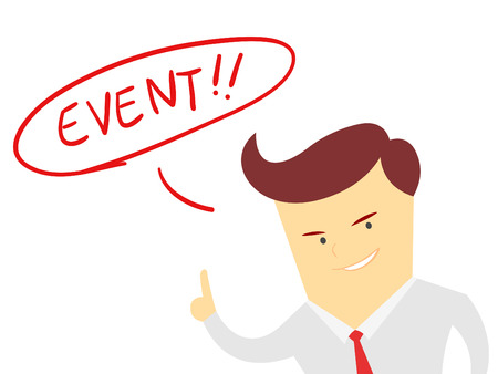 event management: the words event with Businessman isolated on a white background