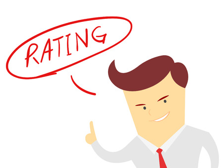 the words rating with Businessman isolated on a white background Vector
