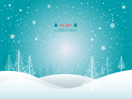 Vector Merry Christmas Landscape.