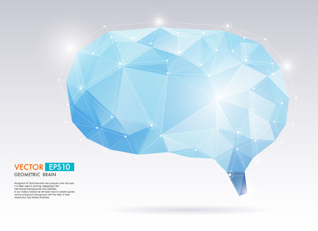 ine: Abstract  geometric brain. Vector Polygon Illustration