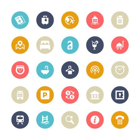 business travel: Satz von 25 Multi-Color-Zyklus f�r Gesch�ftsreisen Vektor-Icons. Illustration
