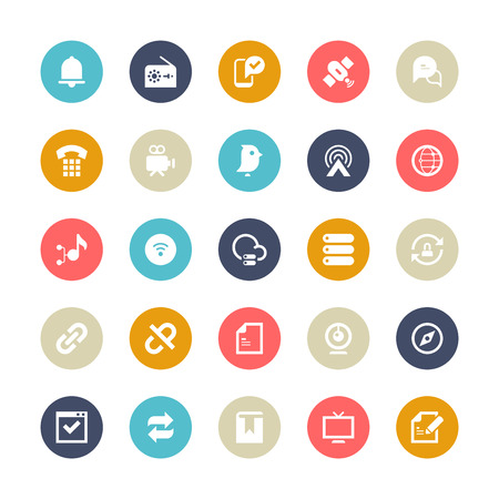 Set of 25 Multi-Color cycle for communication vector icons.