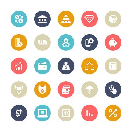 lingot or: Ensemble de 25 cycle de multi-couleur pour les ic�nes vectorielles financiers. Illustration