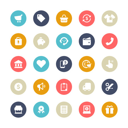 e wallet: Set of 25 Multi-Color cycle for shopping vector icons.  Illustration