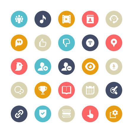 Set of 25 Multi-Color cycle for socila media vector icons. They can be perfectly applied in graphic design and web or mobile devices. Included in each set :25 Vector icons(EPS 8) || Easy to edit, manipulate and colorize. 500dpi Hi-RES JPG || Highres on wh Illustration
