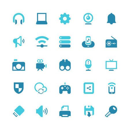 Set of 25 device vector icons. They can be perfectly applied in graphic design and web or mobile devices. Included in each set :25 Vector icons(EPS 8) || Easy to edit, manipulate and colorize. 500dpi Hi-RES JPG || Highres on white background. Vector