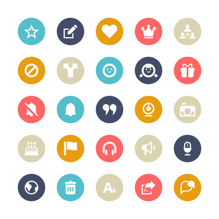 Set of 25 Multi-Color cycle for socila media vector icons.  Vector