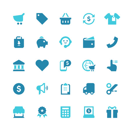 Set of 25 shopping vector icons.