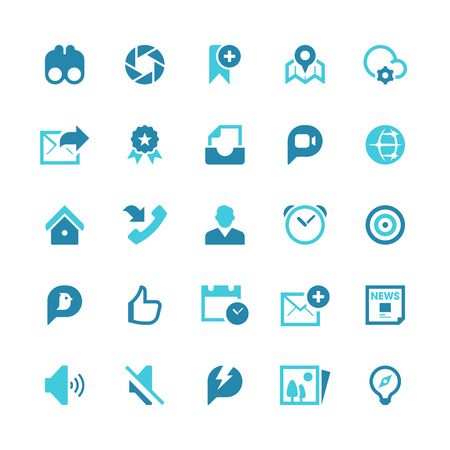 Set of 25 social media vector icons.  Vector