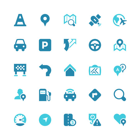 Set of 25 traffic and navigation  vector icons.  Vector