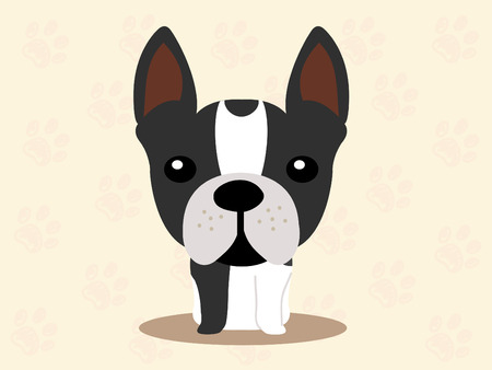 Cute dog sitting - vector set of icons and illustrations