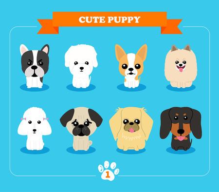 Set flache Bauweise Kompositionen mit niedlichen Hunden - Vektor Reihe von Icons und Grafiken