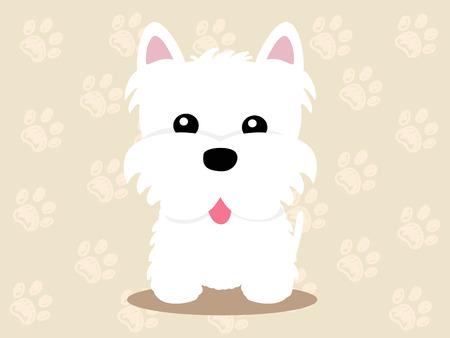 귀여운 강아지 앉아 - 아이콘과 그림의 벡터 집합