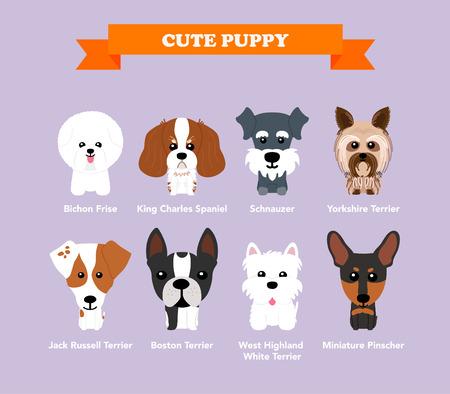 Zestaw płaskich kompozycji projektu z cute psów - wektor zestaw ikon i ilustracji