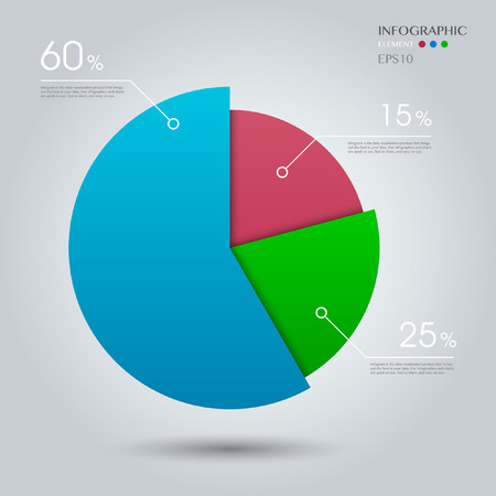 chart vector: Business Pie Chart on the grey background. Eps 10 vector file Illustration