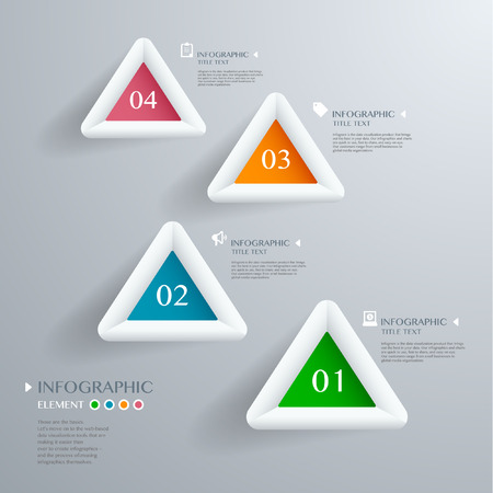 eps 10: Infographic with white Triangle on the grey background. Eps 10 vector file