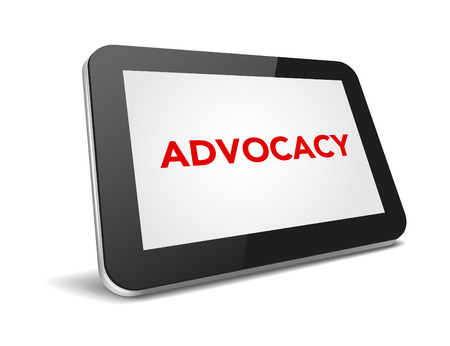 advocacy: tablet pc with text advocacy on display over white background , vector illustration