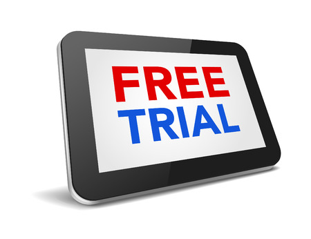 free trial: tablet pc with text free trial on display over white background , vector illustration  Illustration