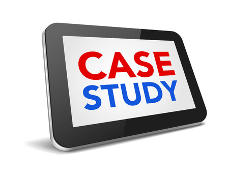 pc case: tablet pc with text case study on display over white background , vector illustration