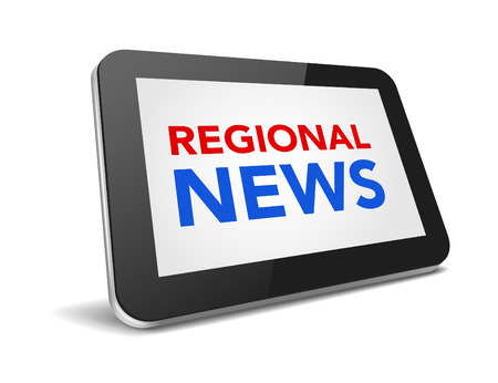 regional: tablet pc with text regional news on display over white background , vector illustration Illustration