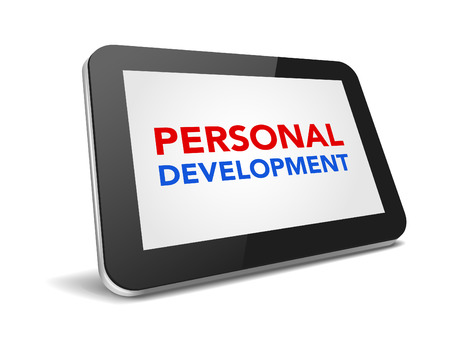 personal development: tablet pc with text personal development on display over white background , vector illustration