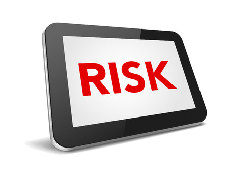 palmtop: tablet pc with text risk on display over white background , vector illustration