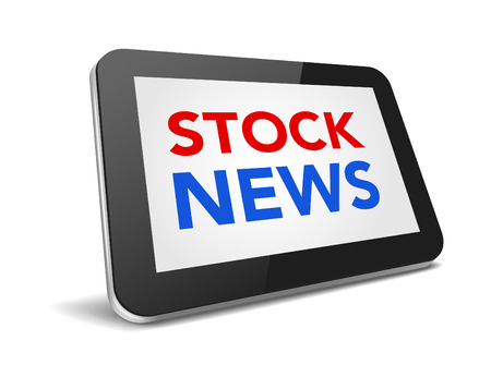 stock news: tablet pc with text stock news on display over white background , vector illustration