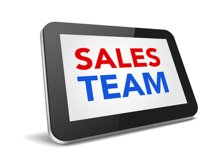 sales team: tablet pc with text sales team on display over white background , vector illustration