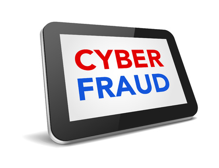 tablet pc with text cyber fraud on display over white background , vector illustration  Vector