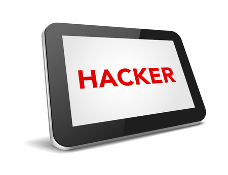 invade: tablet pc with text hacker on display over white background , vector illustration eps 10 Illustration