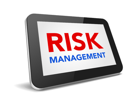 risk management: tablet pc with text risk management on display over white background , vector illustration eps 10