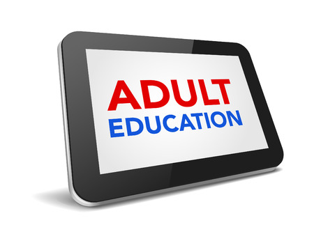 modern palmtop: tablet pc with text adult education on display over white background , vector illustration eps 10