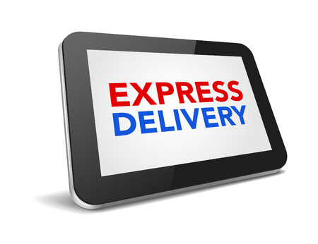 express delivery: tablet pc with text express delivery on display over white background , vector illustration eps 10