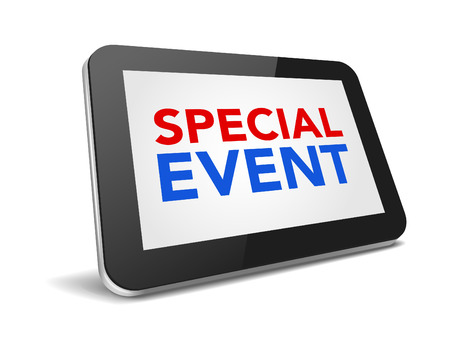 special event: tablet pc with text special event on display over white background , vector illustration eps 10