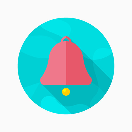 Bell flat icon with long shadow on blue circle background , vector illustration , eps10