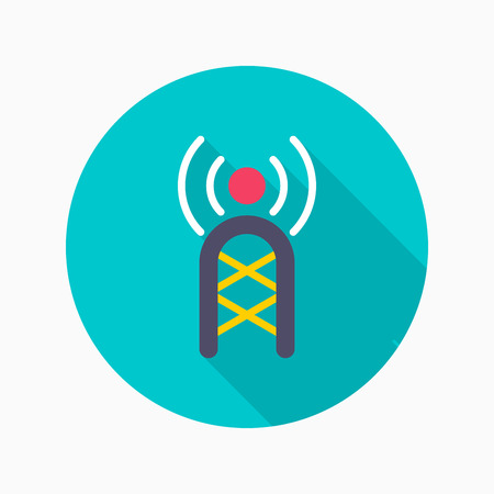 microwave antenna: Communications tower flat icon with long shadow on blue circle background , vector illustration , eps10
