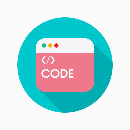 java script: Coding flat icon with long shadow on blue circle background , vector illustration , eps10 Illustration