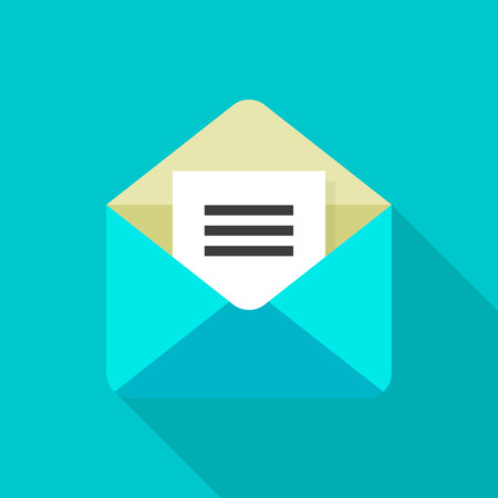 E-mail flat icon with long shadow on color background , vector illustration , eps10